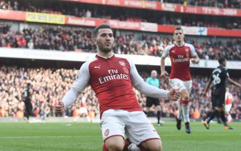 LONDON, ENGLAND - OCTOBER 28:  Sead Kolasinac celebrates scoring the 1st Arsenal goal during the Premier League match between Arsenal and Swansea City at Emirates Stadium on October 28, 2017 in London, England.  (Photo by Stuart MacFarlane/Arsenal FC via Getty Images) *** Local Caption *** Sead Kolasinac
