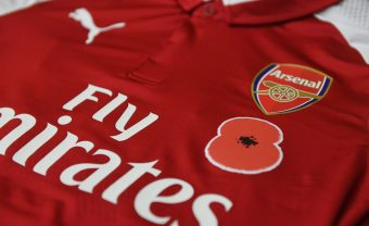 LONDON, ENGLAND - OCTOBER 28:  Arsenal Poppy shirt in the home changing room before the Premier League match between Arsenal and Swansea City at Emirates Stadium on October 28, 2017 in London, England.  (Photo by Stuart MacFarlane/Arsenal FC via Getty Images) *** Local Caption *** Poppy