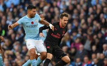 MANCHESTER, ENGLAND - NOVEMBER 05: Aaron Ramsey of Arsenal holds off Sergio Aguero of Man City during the Premier League match between Manchester City and Arsenal at Etihad Stadium on November 5, 2017 in Manchester, England. (Photo by Stuart MacFarlane/Arsenal FC via Getty Images) *** Local Caption *** Aaron Ramsey;Sergio Aguero
