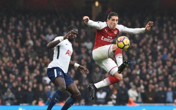 LONDON, ENGLAND - NOVEMBER 18:  Hector Bellerin of Arsenal gets to ball ahead Mousa Sissoko of Tottenham during the Premier League match between Arsenal and Tottenham Hotspur at Emirates Stadium on November 18, 2017 in London, England.  (Photo by David Price/Arsenal FC via Getty Images) *** Local Caption *** Hector Bellerin; Mousa Sissoko