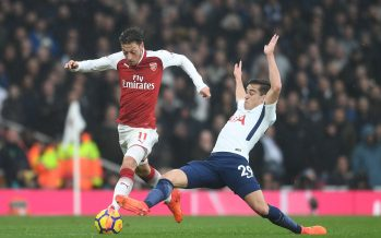 LONDON, ENGLAND - NOVEMBER 18:  Hector Bellerin of Arsenal takes on Harry Winks of Tottenham during the Premier League match between Arsenal and Tottenham Hotspur at Emirates Stadium on November 18, 2017 in London, England.  (Photo by David Price/Arsenal FC via Getty Images) *** Local Caption *** Hector Bellerin; Harry Winks