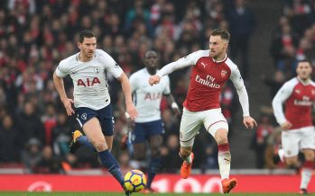 LONDON, ENGLAND - NOVEMBER 18:  Aaron Ramsey of Arsenal takes on Jan Vertonghen of Tottenham during the Premier League match between Arsenal and Tottenham Hotspur at Emirates Stadium on November 18, 2017 in London, England.  (Photo by David Price/Arsenal FC via Getty Images) *** Local Caption *** Aaron Ramsey; Jan Vertonghen