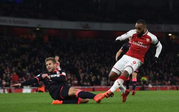 LONDON, ENGLAND - NOVEMBER 29:  Alexandre Lacazette scores a goal for Arsenal under pressure from Martin Cranie of Huddersfield during the Premier League match between Arsenal and Huddersfield Town at Emirates Stadium on November 29, 2017 in London, England.  (Photo by David Price/Arsenal FC via Getty Images) *** Local Caption *** Alexandre Lacazette; Martin Cranie