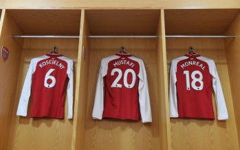 LONDON, ENGLAND - NOVEMBER 29: Laurent Koscielny, Shkodran Mustafi and Nacho Monreal shirts hangs in the Arsenal changing room before the Premier League match between Arsenal and Huddersfield Town at Emirates Stadium on November 29, 2017 in London, England. (Photo by Stuart MacFarlane/Arsenal FC via Getty Images) *** Local Caption *** Laurent Koscielny;Shkodran Mustafi;Nacho Monreal
