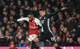 LONDON, ENGLAND - DECEMBER 02:  Alex Lacazette of Arsenal breaks past Chris Smalling of Man United during the Premier League match between Arsenal and Manchester United at Emirates Stadium on December 2, 2017 in London, England.  (Photo by Stuart MacFarlane/Arsenal FC via Getty Images) *** Local Caption *** Alex Lacazette;Chris Smalling