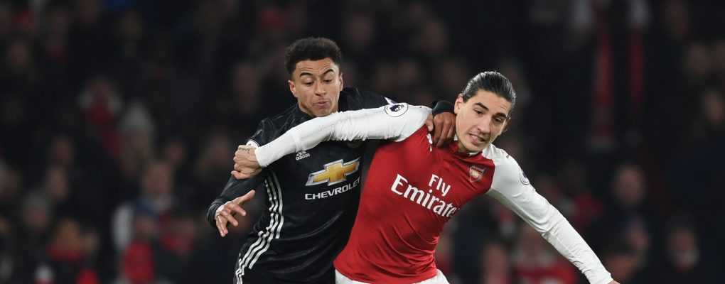 LONDON, ENGLAND - DECEMBER 02:  Hector Bellerin of Arsenal challenged by Jesse Lingard of Man United during the Premier League match between Arsenal and Manchester United at Emirates Stadium on December 2, 2017 in London, England.  (Photo by Stuart MacFarlane/Arsenal FC via Getty Images) *** Local Caption *** Hector Bellerin;Jesse Lingerd