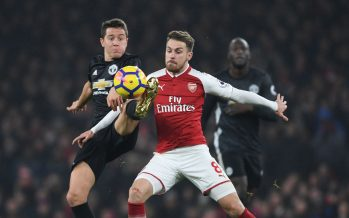 LONDON, ENGLAND - DECEMBER 02:  Aaron Ramsey of Arsenal challenged by Ander Herrera of Man United during the Premier League match between Arsenal and Manchester United at Emirates Stadium on December 2, 2017 in London, England.  (Photo by Stuart MacFarlane/Arsenal FC via Getty Images) *** Local Caption *** Aaron Ramsey;Ander Herrera