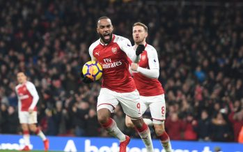 LONDON, ENGLAND - DECEMBER 02:  Alex Lacazette celebrates scoring for Arsenal during the Premier League match between Arsenal and Manchester United at Emirates Stadium on December 2, 2017 in London, England.  (Photo by Stuart MacFarlane/Arsenal FC via Getty Images) *** Local Caption *** Alex Lacazette