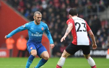SOUTHAMPTON, ENGLAND - DECEMBER 10: Jack Wilshere of Arsenal takes on Pierre-Emile Hojberg of Sputjampton during the Premier League match between Southampton and Arsenal at St Mary's Stadium on December 10, 2017 in Southampton, England. (Photo by Stuart MacFarlane/Arsenal FC via Getty Images) *** Local Caption *** Jack Wilshere;Pierre-Emile Hojberg