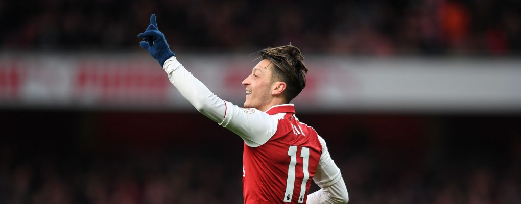 LONDON, ENGLAND - DECEMBER 16:  Mesut Ozil celebrates scoring a goal for Arsenal during the Premier League match between Arsenal and Newcastle United at Emirates Stadium on December 16, 2017 in London, England.  (Photo by David Price/Arsenal FC via Getty Images) *** Local Caption *** Mesut Ozil; Oezil