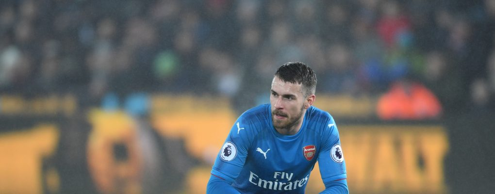 SWANSEA, WALES - JANUARY 30:  Aaron Ramsey of Arsenal during the Premier League match between Swansea City and Arsenal at Liberty Stadium on January 30, 2018 in Swansea, Wales.  (Photo by Stuart MacFarlane/Arsenal FC via Getty Images) *** Local Caption *** Aaron Ramsey