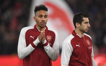 LONDON, ENGLAND - FEBRUARY 03:  Pierre-Emerick Aubameyang and Henrikh Mkhitaryan of Arsenal before the match the Premier League match between Arsenal and Everton at Emirates Stadium on February 3, 2018 in London, England.  (Photo by David Price/Arsenal FC via Getty Images) *** Local Caption *** Pierre-Emerick Aubameyang; Henrikh Mkhitaryan