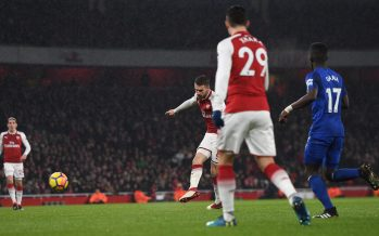 LONDON, ENGLAND - FEBRUARY 03:  Aaron Ramsey scores his 2nd goal, Arsenal's 3rd, during the match the Premier League match between Arsenal and Everton at Emirates Stadium on February 3, 2018 in London, England.  (Photo by David Price/Arsenal FC via Getty Images) *** Local Caption *** Aaron Ramsey