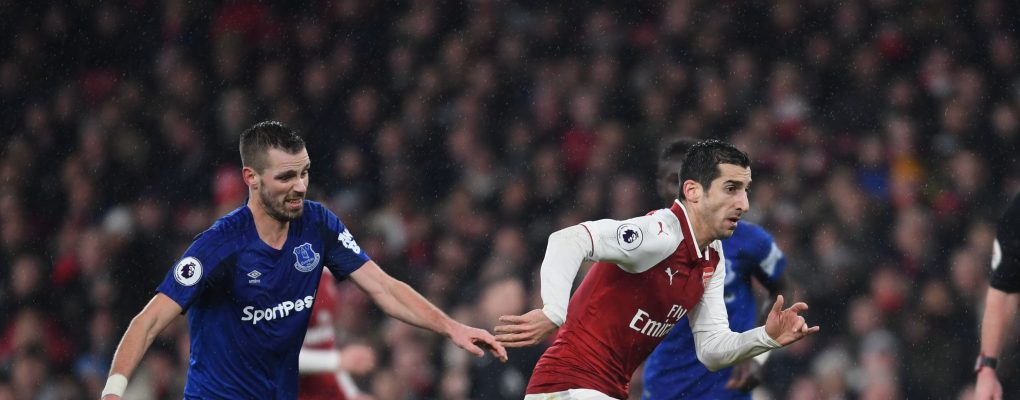 LONDON, ENGLAND - FEBRUARY 03:  Henrikh Mkhitaryan of Arsenal breaks past Morgan Schneiderlin of Everton during the Premier League match between Arsenal and Everton at Emirates Stadium on February 3, 2018 in London, England.  (Photo by Stuart MacFarlane/Arsenal FC via Getty Images) *** Local Caption *** Henrikh Mkhitaryan;Morgan Schneiderlin