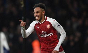 LONDON, ENGLAND - FEBRUARY 03:  Pierre-Emerick Aubameyang celebrates scoring the 4th Arsenal goal during the Premier League match between Arsenal and Everton at Emirates Stadium on February 3, 2018 in London, England.  (Photo by Stuart MacFarlane/Arsenal FC via Getty Images) *** Local Caption *** Pierre-Emerick Aubameyang