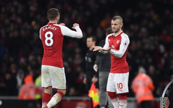 LONDON, ENGLAND - FEBRUARY 03: (R) Arsenal substitute Jack Wilshere come on for (L) Aaron Ramsey during the Premier League match between Arsenal and Everton at Emirates Stadium on February 3, 2018 in London, England. (Photo by Stuart MacFarlane/Arsenal FC via Getty Images) *** Local Caption *** Jack Wilshere;Aaron Ramsey