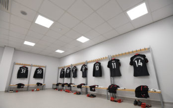 BRIGHTON, ENGLAND - MARCH 04:  The Arsenal kit in the changingroom before the Premier League match between Brighton and Hove Albion and Arsenal at Amex Stadium on March 4, 2018 in Brighton, England.  (Photo by David Price/Arsenal FC via Getty Images) *** Local Caption *** Arsenal changingroom