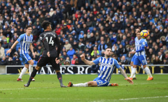 BRIGHTON, ENGLAND - MARCH 04:  Pierre-Emerick Aubameyang scores Arsenal's goal during the Premier League match between Brighton and Hove Albion and Arsenal at Amex Stadium on March 4, 2018 in Brighton, England.  (Photo by David Price/Arsenal FC via Getty Images) *** Local Caption *** Pierre-Emerick Aubameyang