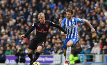 BRIGHTON, ENGLAND - MARCH 04:  Jack Wilshere of Arsenal takes on Dale Stephens of Brighton during the Premier League match between Brighton and Hove Albion and Arsenal at Amex Stadium on March 4, 2018 in Brighton, England.  (Photo by David Price/Arsenal FC via Getty Images) *** Local Caption *** Jack Wilshere; Dale Stephens