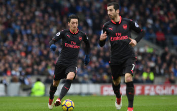 BRIGHTON, ENGLAND - MARCH 04:  Mesut Ozil of Arsenal during the Premier League match between Brighton and Hove Albion and Arsenal at Amex Stadium on March 4, 2018 in Brighton, England.  (Photo by David Price/Arsenal FC via Getty Images) *** Local Caption *** Mesut Ozil; Oezil