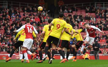 LONDON, ENGLAND - MARCH 11:  Shkodran Mustafi scores a goal for Arsenal during the Premier League match between Arsenal and Watford at Emirates Stadium on March 11, 2018 in London, England.  (Photo by David Price/Arsenal FC via Getty Images) *** Local Caption *** Shkodran Mustafi
