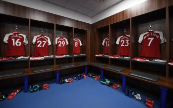 LEICESTER, ENGLAND - MAY 09:  Shirts hang in the Arsenal changing room before the Premier League match between Leicester City and Arsenal at The King Power Stadium on May 9, 2018 in Leicester, England.  (Photo by Stuart MacFarlane/Arsenal FC via Getty Images) *** Local Caption *** Arsenal changing room
