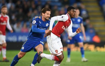 LEICESTER, ENGLAND - MAY 09: Ainsley Maitland-Niles of Arsenal challenged by Adrien Silva of Leicester during the Premier League match between Leicester City and Arsenal at The King Power Stadium on May 9, 2018 in Leicester, England.  (Photo by Stuart MacFarlane/Arsenal FC via Getty Images) *** Local Caption *** Ainsley Maitland-Niles;Adrien Silva