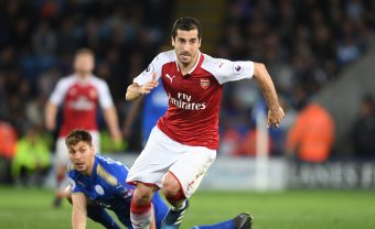 LEICESTER, ENGLAND - MAY 09:  Henrikh Mkhitaryan of Arsenal breaks past Aleksandar Dragovic of Leicester during the Premier League match between Leicester City and Arsenal at The King Power Stadium on May 9, 2018 in Leicester, England.  (Photo by Stuart MacFarlane/Arsenal FC via Getty Images) *** Local Caption *** Henrikh Mkhitaryan;Aleksandar Dragovic