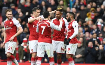 LONDON, ENGLAND - APRIL 01: (2ndR) Pierre-Emerick Aubameyang celebrates scoring the 2nd Arsenal goal with (R) Alex Lacazette (L) Granit Xhaka and (2ndL) Henrikh Mkhitaryan during the Premier League match between Arsenal and Stoke City at Emirates Stadium on April 1, 2018 in London, England. (Photo by Stuart MacFarlane/Arsenal FC via Getty Images) *** Local Caption *** Pierre-Emerick Aubameyang;Alex Lacazette;Granit Xhaka;Henrikh Mkhitaryan