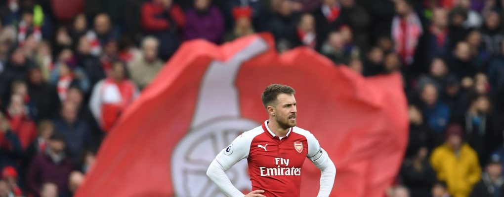 LONDON, ENGLAND - APRIL 01: Aaron Ramsey of Arsenal during the Premier League match between Arsenal and Stoke City at Emirates Stadium on April 1, 2018 in London, England. (Photo by Stuart MacFarlane/Arsenal FC via Getty Images) *** Local Caption *** Aaron Ramsey