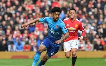 MANCHESTER, ENGLAND - APRIL 29:  Reiss Nelson of Arsenal during the Premier League match between Manchester United and Arsenal at Old Trafford on April 29, 2018 in Manchester, England.  (Photo by David Price/Arsenal FC via Getty Images) *** Local Caption *** Reiss Nelson