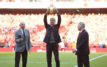 LONDON, ENGLAND - MAY 06:  Arsene Wenger the Arsenal Manager with the unbeaten trophy and Bob Wilson and Pat Rice after the Premier League match between Arsenal and Burnley at Emirates Stadium on May 6, 2018 in London, England.  (Photo by David Price/Arsenal FC via Getty Images) *** Local Caption *** Arsene Wenger; Bob Wilson; Pat Rice