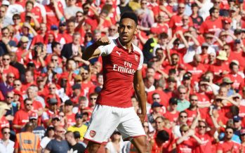 LONDON, ENGLAND - MAY 06:  Pierre-Emerick Aubameyang celebrates scoring for Arsenal during the Premier League match between Arsenal and Burnley at Emirates Stadium on May 6, 2018 in London, England.  (Photo by Stuart MacFarlane/Arsenal FC via Getty Images) *** Local Caption *** Pierre-Emerick Aubameyang