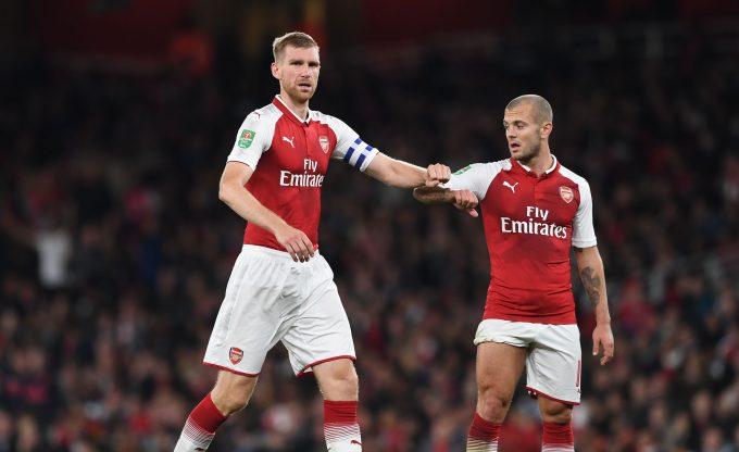 LONDON, ENGLAND - SEPTEMBER 20: Per Mertesacker and Jack Wilshere of Arsenal during the match between Arsenal and Doncaster Rovers at Emirates Stadium on September 20, 2017 in London, England.  (Photo by David Price/Arsenal FC via Getty Images) *** Local Caption *** Jack Wilshere; Per Mertesacker