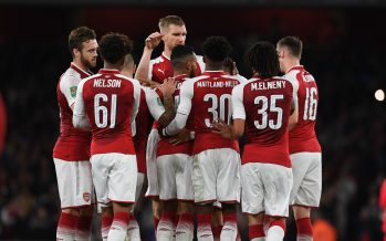 LONDON, ENGLAND - SEPTEMBER 20:  Theo Walcott celebrates scoring for Arsenal withhis team mates during the match between Arsenal and Doncaster Rovers at Emirates Stadium on September 20, 2017 in London, England.  (Photo by David Price/Arsenal FC via Getty Images) *** Local Caption *** Theo Walcott