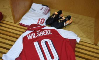 LONDON, ENGLAND - SEPTEMBER 20:  Jack Wilshere's kit in the Arsenal changing room before the Carabao Cup Third Round match between Arsenal and Doncaster Rovers at Emirates Stadium on September 19, 2017 in London, England.  (Photo by Stuart MacFarlane/Arsenal FC via Getty Images) *** Local Caption *** Jack Wilshere