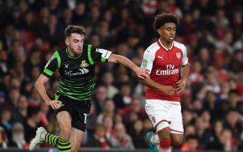 LONDON, ENGLAND - SEPTEMBER 20:  Reiss Nelson of Arsenal breaks past Ben Whiteman of Doncaster during the Carabao Cup Third Round match between Arsenal and Doncaster Rovers at Emirates Stadium on September 19, 2017 in London, England.  (Photo by Stuart MacFarlane/Arsenal FC via Getty Images) *** Local Caption *** Reiss Nelson;Ben Whiteman