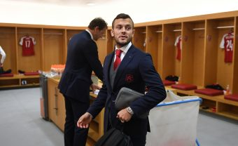 LONDON, ENGLAND - SEPTEMBER 14:  Jack Wilshere in the Arsenal changing room before the UEFA Europa League group H match between Arsenal FC and 1. FC Koeln at Emirates Stadium on September 14, 2017 in London, United Kingdom.  (Photo by Stuart MacFarlane/Arsenal FC via Getty Images) *** Local Caption *** Jack Wilshere