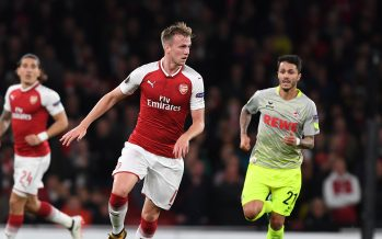LONDON, ENGLAND - SEPTEMBER 14:  Rob Holding of Arsenal breaks past Leonardo Bittencourt of Koln during the UEFA Europa League group H match between Arsenal FC and 1. FC Koeln at Emirates Stadium on September 14, 2017 in London, United Kingdom.  (Photo by Stuart MacFarlane/Arsenal FC via Getty Images) *** Local Caption *** Rob Holding; Leonardo Bittencourt