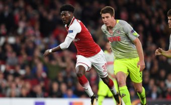 LONDON, ENGLAND - SEPTEMBER 14:  Ainsley Maitland-Niles of Arsenal during the UEFA Europa League group H match between Arsenal FC and 1. FC Koeln at Emirates Stadium on September 14, 2017 in London, United Kingdom.  (Photo by Stuart MacFarlane/Arsenal FC via Getty Images) *** Local Caption *** Ainsley Maitland-Niles