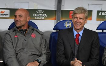 BARYSAW, BELARUS - SEPTEMBER 28:  Arsenal manager Arsene Wenger with assistant Steve Bould before the UEFA Europa League group H match between BATE Borisov and Arsenal FC at Borisov-Arena on September 28, 2017 in Barysaw, Belarus.  (Photo by Stuart MacFarlane/Arsenal FC via Getty Images) *** Local Caption *** Arsene Wenger;Steve Bould