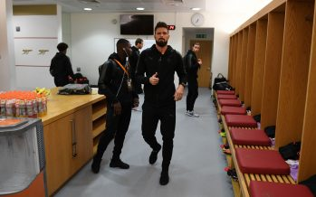 LONDON, ENGLAND - NOVEMBER 02:  Olivier Giroud of Arsenal in the changingroom before the UEFA Europa League group H match between Arsenal FC and Crvena Zvezda at Emirates Stadium on November 2, 2017 in London, United Kingdom.  (Photo by David Price/Arsenal FC via Getty Images) *** Local Caption *** Olivier Giroud