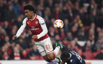 LONDON, ENGLAND - NOVEMBER 02: Reiss Nelson of Arsenal tackled by Vujadin Savic of Red Star during the UEFA Europa League group H match between Arsenal FC and Crvena Zvezda at Emirates Stadium on November 2, 2017 in London, United Kingdom. (Photo by Stuart MacFarlane/Arsenal FC via Getty Images) *** Local Caption *** Reiss Nelson;Vujadin Savic