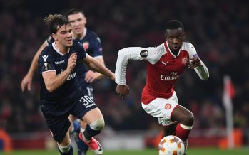 LONDON, ENGLAND - NOVEMBER 02:  Eddie Nketiah of Arsenal takes on Filip Stojkovic of Red Star during the UEFA Europa League group H match between Arsenal FC and Crvena Zvezda at Emirates Stadium on November 2, 2017 in London, United Kingdom.  (Photo by Stuart MacFarlane/Arsenal FC via Getty Images) *** Local Caption *** Eddie Nketiah;Filip Stojkovic