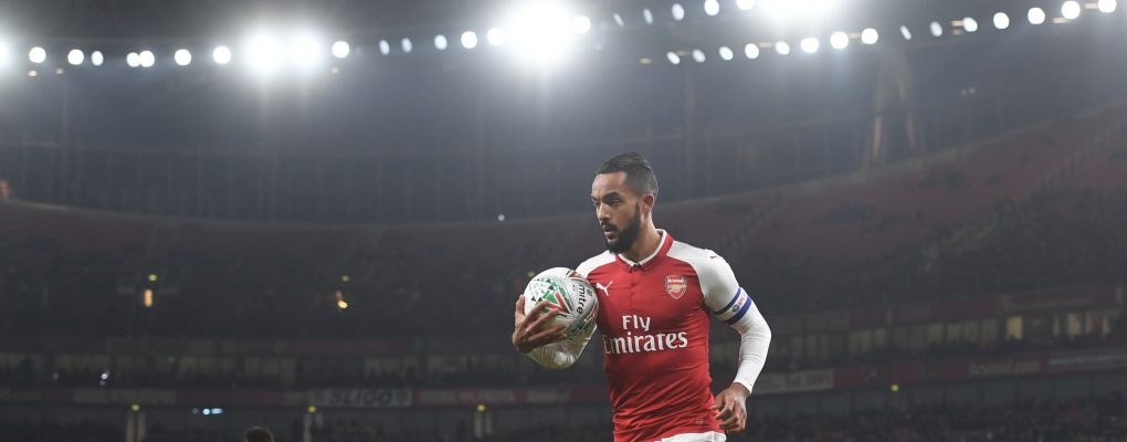 LONDON, ENGLAND - DECEMBER 19:  Theo Walcott of Arsenal during the Carabao Cup Quarter Final match between Arsenal and West Ham United at Emirates Stadium on December 19, 2017 in London, England.  (Photo by Stuart MacFarlane/Arsenal FC via Getty Images) *** Local Caption *** Theo Walcott