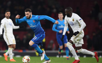 LONDON, ENGLAND - FEBRUARY 22:  Sead Kolasinac of Arsenal breaks past Ronald Mukiibi of Ostersunds during UEFA Europa League Round of 32 match between Arsenal and Ostersunds FK at the Emirates Stadium on February 22, 2018 in London, United Kingdom.  (Photo by Stuart MacFarlane/Arsenal FC via Getty Images) *** Local Caption *** Sead Kolasinac;Ronald Mukiibi