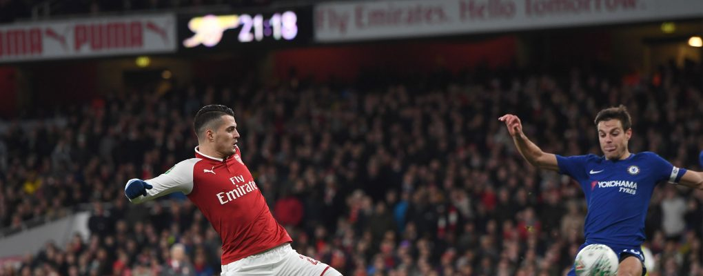LONDON, ENGLAND - JANUARY 24:  Granit Xhaka scores Arsenal's 2nd goal during the match between Arsenal and Chelsea at Stamford Bridge on January 24, 2018 in London, England.  (Photo by David Price/Arsenal FC via Getty Images) *** Local Caption *** Granit Xhaka