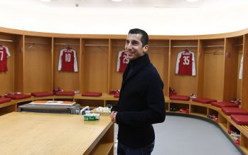 LONDON, ENGLAND - JANUARY 24:  New Arsenal signing Henrikh Mkhitaryan in the home changing room at Emirates Cup before the Carabao Cup Semi-Final Second Leg between Arsenal and Chelsea on January 24, 2018 in London, England.  (Photo by Stuart MacFarlane/Arsenal FC via Getty Images) *** Local Caption *** Henrikh Mkhitaryan