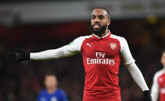 LONDON, ENGLAND - JANUARY 24:  Alex Lacazette of Arsenal during the Carabao Cup Semi-Final Second Leg between Arsenal and Chelsea at Emirates Stadium on January 24, 2018 in London, England.  (Photo by Stuart MacFarlane/Arsenal FC via Getty Images) *** Local Caption *** Alex Lacazette