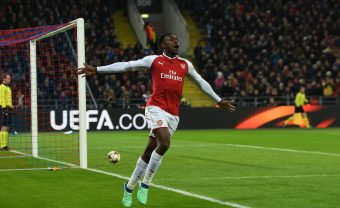 MOSCOW, RUSSIA - APRIL 12:  Danny Welbeck celebrates scoring Arsenal's 1st goal during the UEFA Europa League quarter final leg two match between CSKA Moskva and Arsenal FC at  on April 12, 2018 in Moscow, Russia.  (Photo by David Price/Arsenal FC via Getty Images) *** Local Caption *** Danny Welbeck